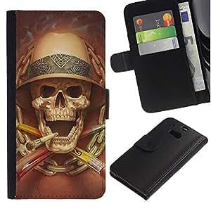 Be-Star la tarjeta de Crédito Slots PU Funda de cuero Monedero caso cubierta de piel Para HTC One M8 ( Death Explorer Smoking Safari Skull )