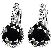 Fashion Women Lady Elegant Crystal Rhinestone Zircons Ear Stud Earrings Jewelry EW sakcharn (Navy Blue)