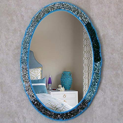 Dressing Entrance Mirror Washbasin Mirror Mediterranean Bathroom Mirror ,Oval Decoration Waterproof Bathroom -
