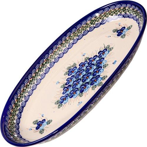 Polish Pottery Ceramika Boleslawiec Platter Karp Cups, Royal Blue Patterns with Blue Pansy Flower Motif, 14-1/8-Inch by 8-7/8-Inch