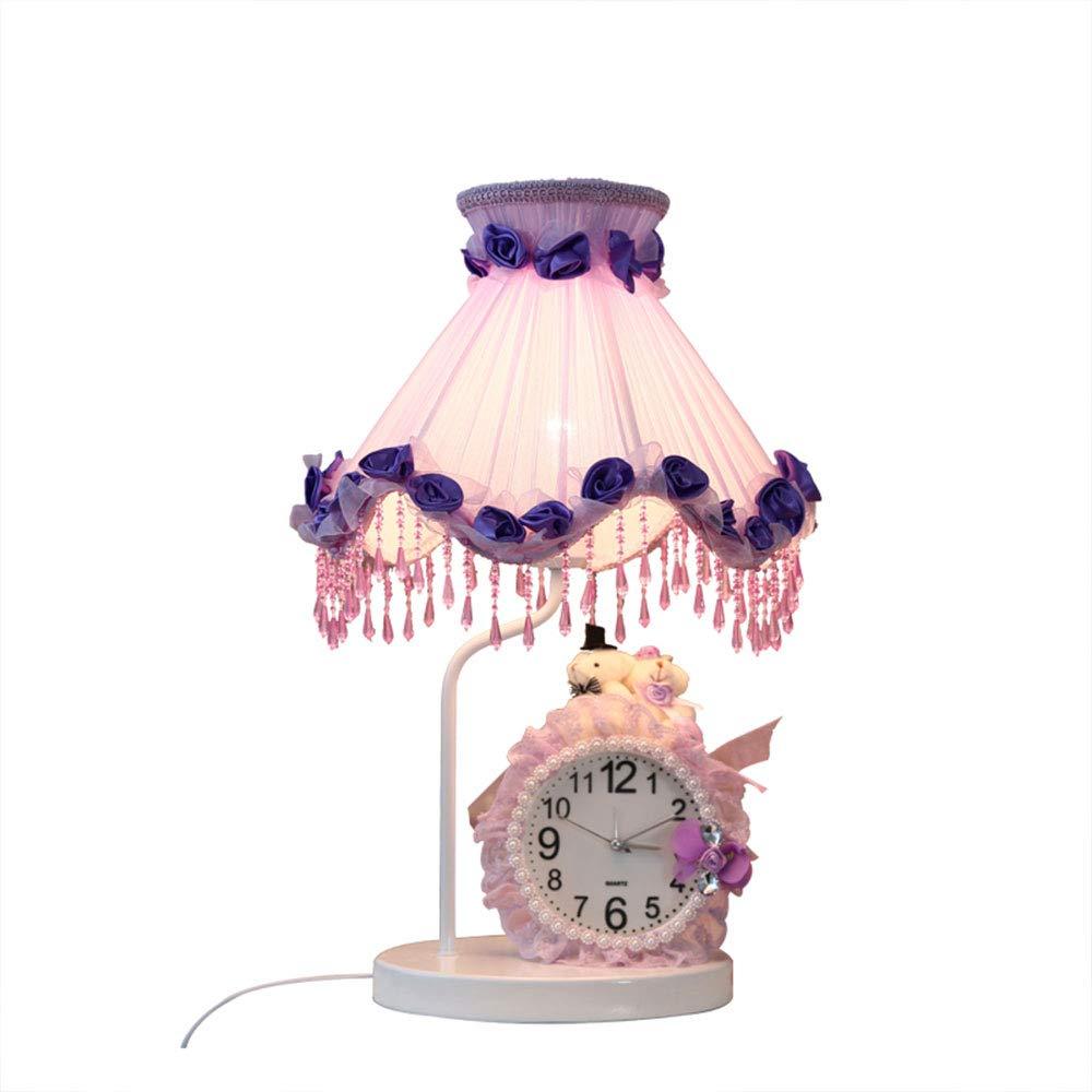 Kindertischlampe (mit Uhr) im Europäischen Stil, lila, Nachttischlampe für Mädchenzimmer, Dimmbare Wohnzimmer Schlafzimmer Hochzeit Tischlampe