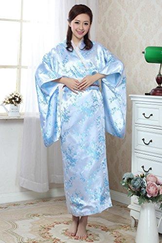 Bigood Robe de Bain Femme Imitation de Soie Kimono Japonais Long Fleur Bleu
