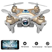 wifi controlled mini quadcopter, Volarvin® - super micro nano quadcopter rc drone with camera 2.4g 4 channel 3d gyro 6 axis with 360 stunt spin flips (only 6cm x 6cm x 2cm) in gold
