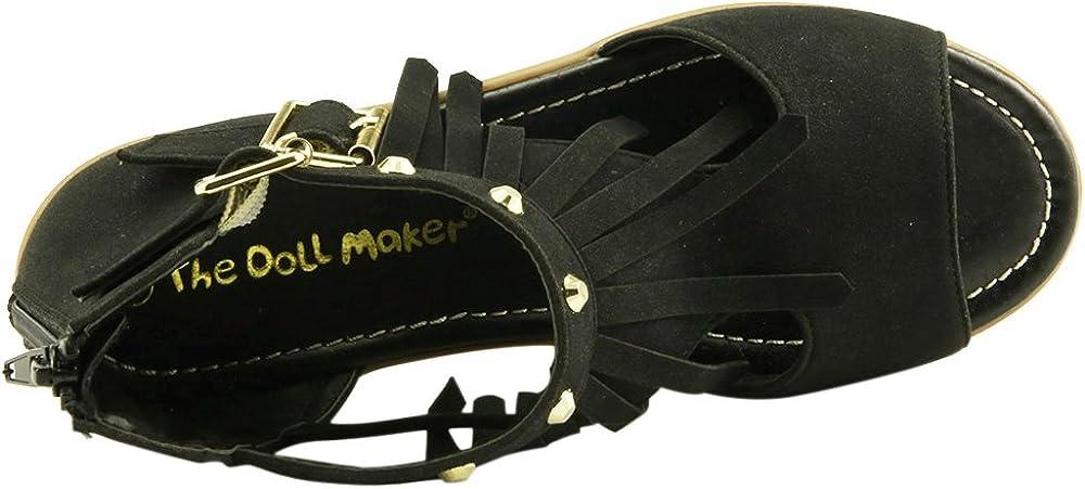 The Doll Maker Girl/'s Open Toe Fringe Sandal