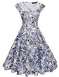 vintage 40s dress - ACEVOG Women's 1950s A-Line Plus Size 40s Vintage Casual Dresses (Blue 2 S)