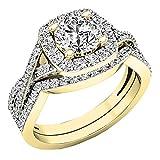 2.55 Carat (Ctw) 10K Yellow Gold Round Cubic Zirconia Ladies Engagement Ring Set 2 1/2 CT (Size 8)