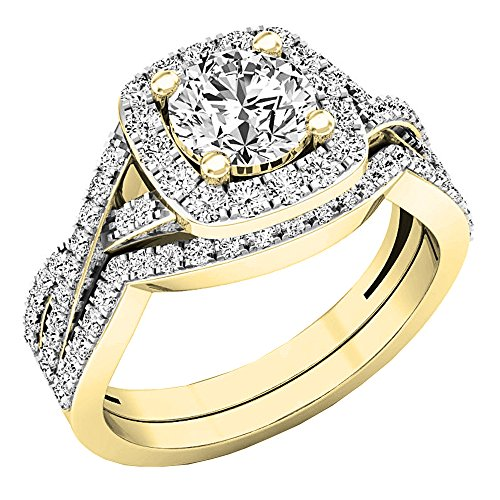 (Dazzlingrock Collection 2.55 Carat (Ctw) 10K Round Cubic Zirconia Ladies Engagement Ring Set 2 1/2 CT, Yellow Gold, Size)