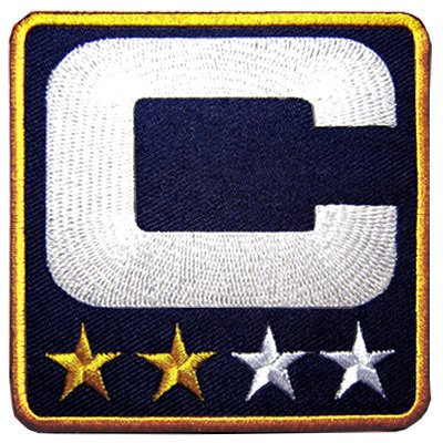 Navy Blue 2 Stars Gold Captain C Jersey Football Embroidered Iron on Patch