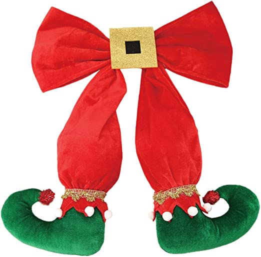 Holiday Elf Bows red, green, striped 3 Bows