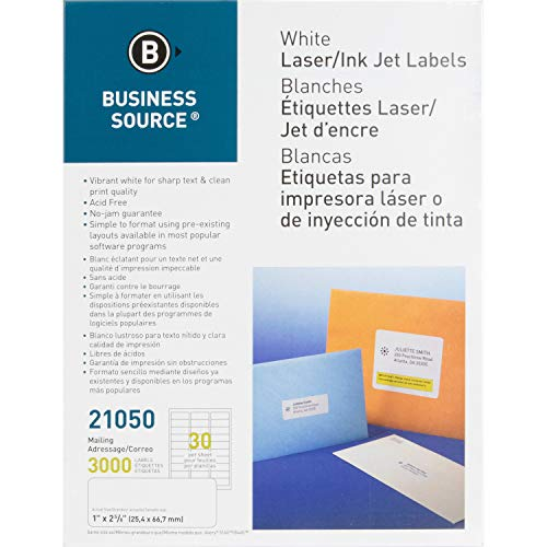 Business Source™ Mailing Laser Label, 1x2-5/8, 3000/PK, White from Business Source