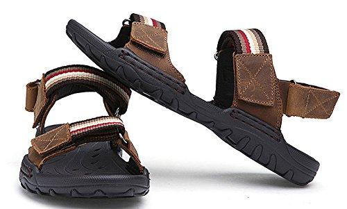 Mens Rayures 2-sangle Sandales De Plage En Plein Air Crochet-et-boucle Décontracté Chaussures De Leau Café