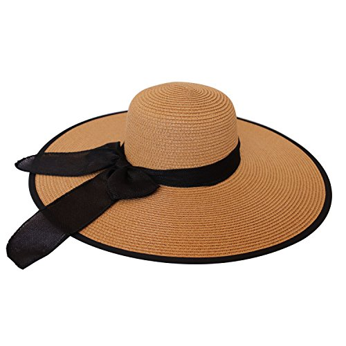 Womens Big Bowknot Straw Hat Foldable Roll up Sun Hat Beach Hat UPF 50+ Khaki (Khaki Womens : Clothing Accessories)