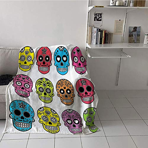 Khaki home Children's Blanket Throw/Travel Plush Throw Blanket (60 by 62 Inch,Skulls Decorations Collection,Ornate Colorful Traditional Mexian Halloween Skull Icons Dead Humor Folk Art Print,Multi]()