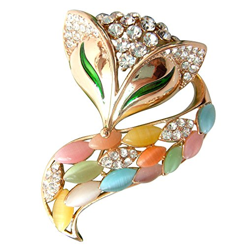 Navachi 18k Gold Plated Colorful Created-Opal Crystal Fox Lowrie Head Tail Az7875 Brooches pins