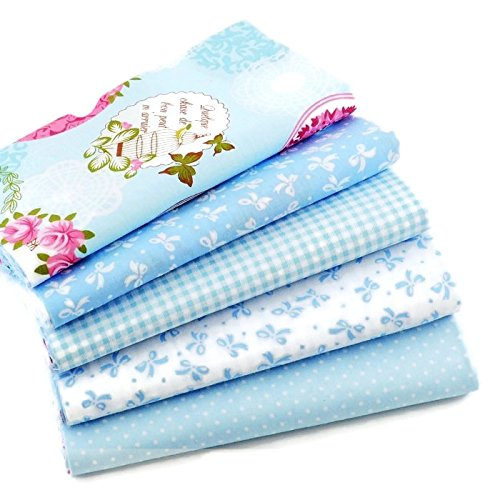 Light Blue Series Cotton Patchwork Fabric Bundle For DIY Sewing Textiles tilda Quilting Tissue 40x50cm (5 pcs) (Yarn Stripe Feather)