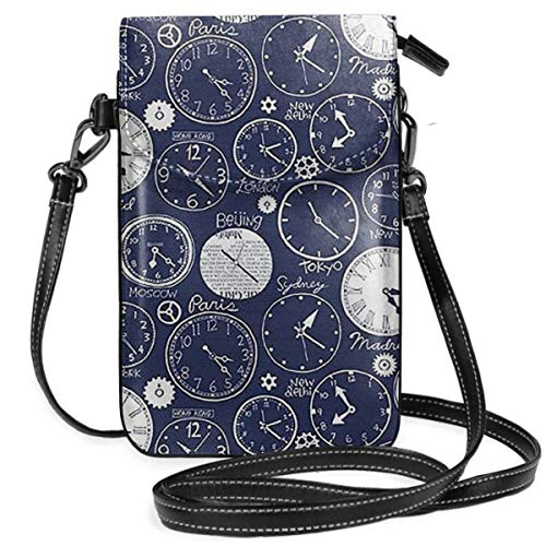 Hsanfwnzl Small Cell Phone Purse Alarm Clock Crossbody Bags with Shoulder Strap Coin Purse Wallet for Women,Girls Black ()