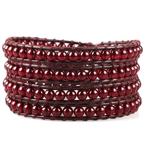 C·QUAN CHI Handmade Genuine Leather Bracelet Bangle Cuff Simulated Stone Rope Bead 4 Wrap Adjustable - Garnet Leather
