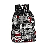 Fieans Fashion Retro Style Unisex Union Jack Flag Canvas Backpack School Bag Traveling Bag Daypack Rucksack (Black Red-Flag)