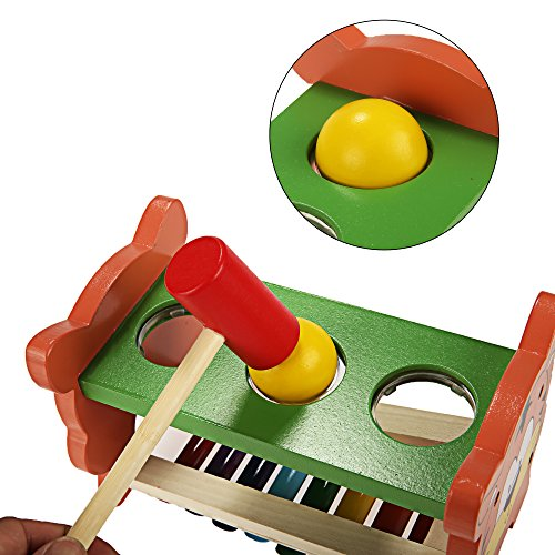 Funmily 2 in 1 Pound and Tap Bench with Slide Out Xylophone Wooden Music Toy for Kids by Funmily (Image #4)