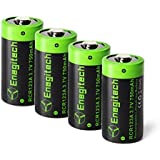 CR123A Rechargeable Lithium Batteries - Enegitech 4 Pack 3.7V 750mAh RCR123A Li-ion Battery for Arlo Camera, Flashlight, Security System