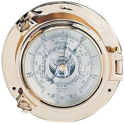 Polished Brass Porthole Barometer