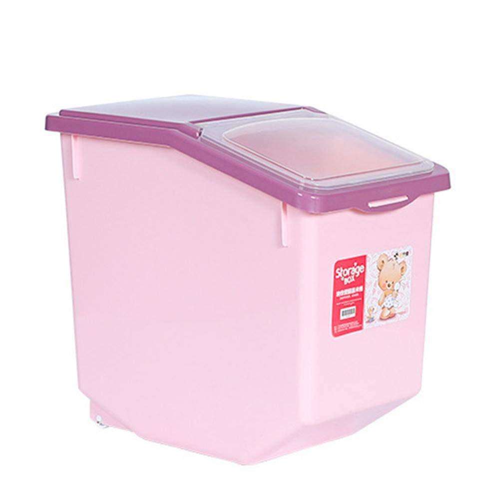 MeterMall Pet 5kg/10kg/15kg Moisture-Proof Sealed Storage Barrel for Pet Cat Dog Food Rice Pink 15KG by MeterMall
