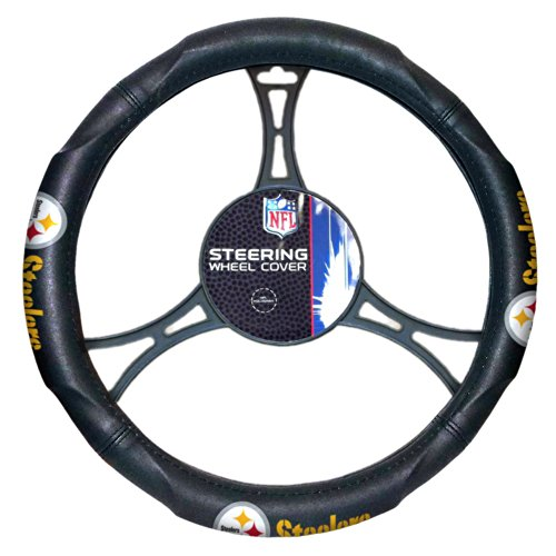 NFL Pittsburgh Steelers Steering Wheel Cover, Black, One Size at Steeler Mania