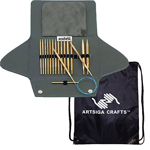 addi Knitting Needle Click Olive Wood Interchangeable System with Skacel Exclusive Blue Cords Bundle with 1 Artsiga Crafts Project Bag by Addi Knitting Needles (Image #1)