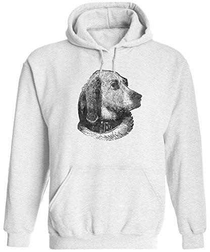 Fido Fleece Fleece Collar - Austin Ink Apparel Unisex Mens Dog Portrait Printed Pullover Hooded Sweatshirt (White, S)
