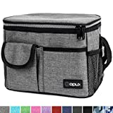 OPUX Premium Insulated Lunch Bag for Women, Men, Adults | Lunch Box with Shoulder Strap, Pocket, Soft Leakproof Liner | Medium Lunch Cooler for School, Work | Fits 6 Cans (Heather Grey)