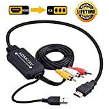 JBingGG HDMI to RCA Cable Converter HDMI to AV Converter 1080P 3RCA CVBs Composite Video Audio Supports PAL/NTSC for Amazon Fire Stick, Roku, Chromecast, PC, Laptop, Xbox, HDTV, DVD 6Ft