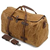 Cheap S-ZONE Waterproof Waxed Canvas Leather Trim Travel Tote Duffel Handbag Weekend Bag