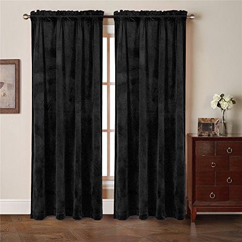 Comforhome Solid soft velvet window curtain Rod Pocket Drapes Black 52