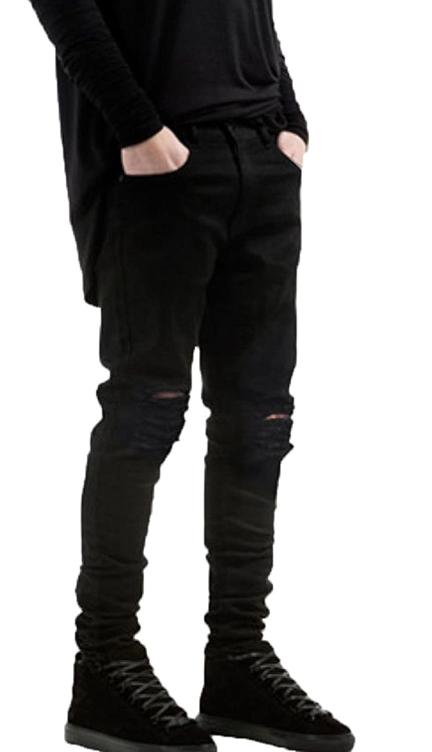 Krralinlin Mens Slim Fit Black Ripped Skinny Destroyed Denim Jeans ...