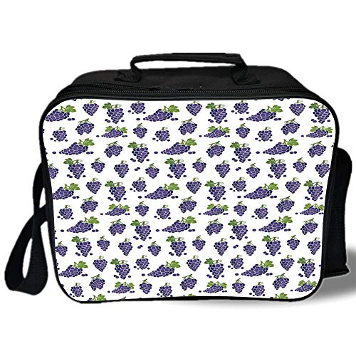 Insulated Lunch Bag,Grapes Home Decor,Cute Fruit Icons Patterned Juicy Organic Yummy Cottage Sweet Design,Purple Green,for Work/School/Picnic, Grey ()