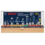 Bosch RBS010 1/2-Inch and 1/4-Inch Shank Carbide-Tipped All-Purpose Professional Router Bit Set, 10-Piece