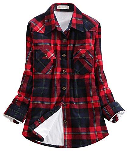 (chouyatou Women's Winter Fleece Lined Plaid Flannel Buttoned Shirt (Large, KU029))