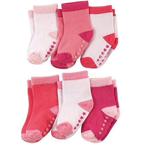Luvable Friends Baby Non-Skid Crew Socks 6-Pack, Pink and White, 12-24 Months