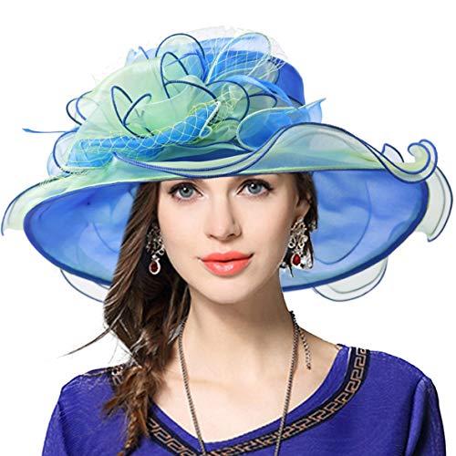 JESSE · RENA Women's Church Derby Dress Fascinator Bridal Cap British Tea Party Wedding Hat (Two-Tone-Blue, M) -