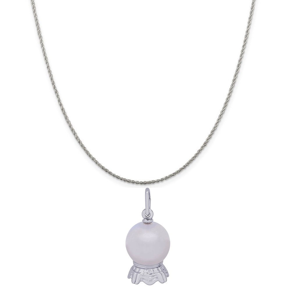 Rembrandt Charms Sterling Silver Crystal Ball Charm on a 16 Box or Curb Chain Necklace 18 or 20 inch Rope