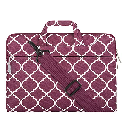 MOSISO Laptop Shoulder Bag Compatible 15-15.6 Inch MacBook Pro, Ultrabook Netbook Tablet, Canvas Geometric Pattern Protective Briefcase Carrying Handbag Sleeve Case Cover, Wine Red Quatrefoil ()