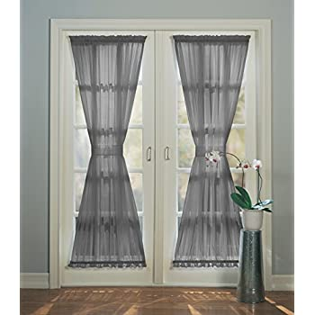 918 Emily Sheer Voile Single Curtain Door Panel With Tie Back