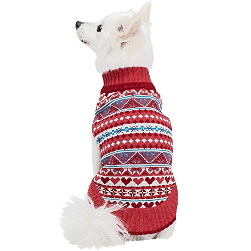 Pattern Sugar Base - Blueberry Pet 4 Patterns Fair Isle Style Sugar Coral Pullover Dog Sweater with Heart, Back Length 20