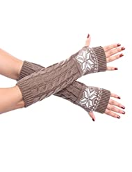 Long Half-finger knitted Christmas Snow Mitts Warm Gloves for Womens and Girls (Khaki)