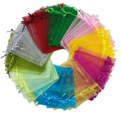 "Ankirol 50pcs Wedding Favors Sheer Organza Favor Bags 4×4.6"" Gift Bags Samples Display Drawstring Pouches (multi)"