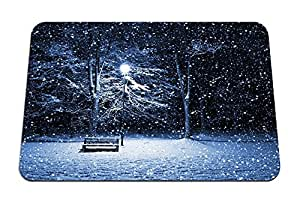 "Bench in Winter - Gaming Mouse Pad - 8.6""x7.1"" inches"