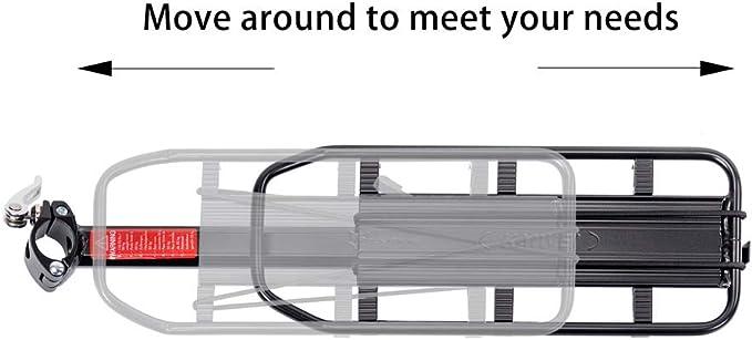HSNMEY Porte-Bagages V/élo Arri/ère Universel Noir Installation Rapide Alliage Alu Max Support 50 KG Connect/é Tige Selle 32mm R/églable Stabilit/é Pare-Boue VTT Velo de Ville