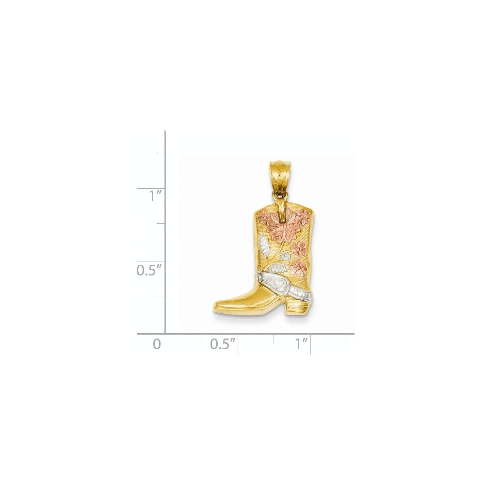 14K Yellow Gold and Rhodium Plated Floral Boot Pendant
