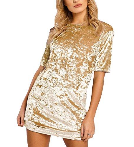 R.Vivimos Women's Summer Short Sleeve Crushed Velvet Mini Short Dresses (2XL, Gold)