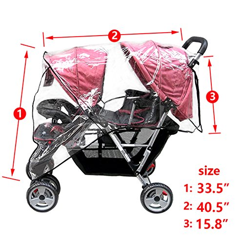 Aligle Weather Shield Double Popular for Swivel Wheel Stroller Universal Size Baby Rain Cover/Wind Shield Deal (Black) by Aligle (Image #5)